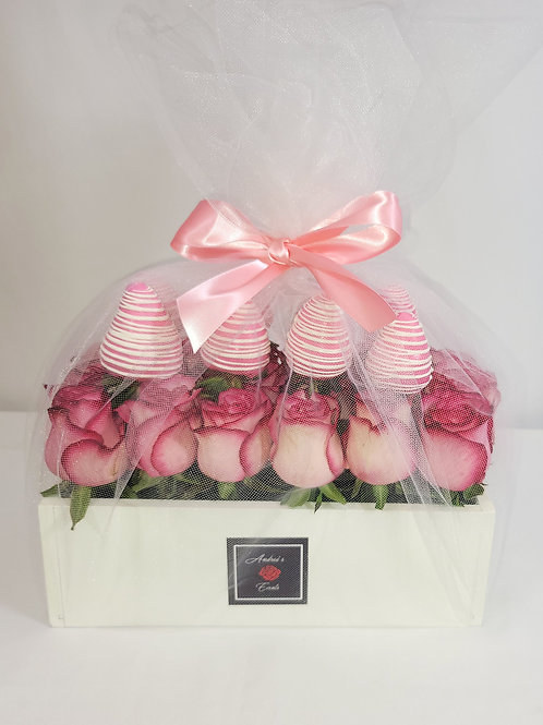 Everything Pink Fresh Rose & Chocolate Covered Strawberries