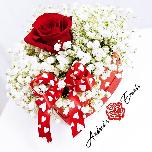 Red Glitter Heart Box with Red Rose