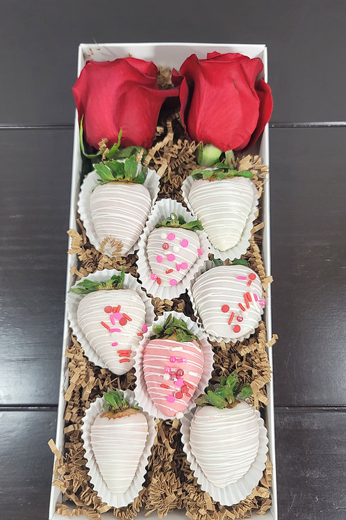 Cutie Box 2 Red Roses & 8 Chocolate Covered Strawberries