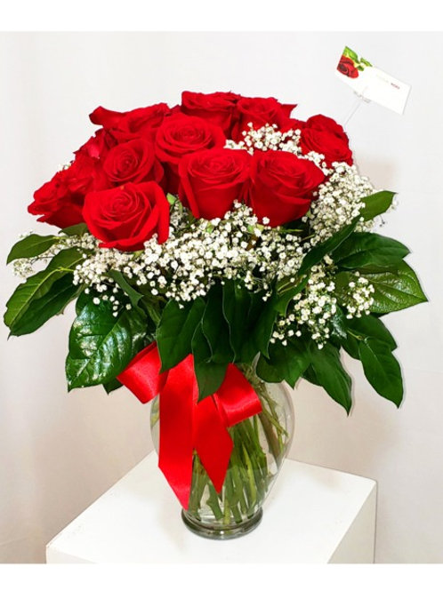 A Dozen Red Roses Glass Vase