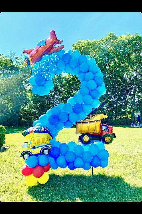 3ft number 2 balloon sculpture