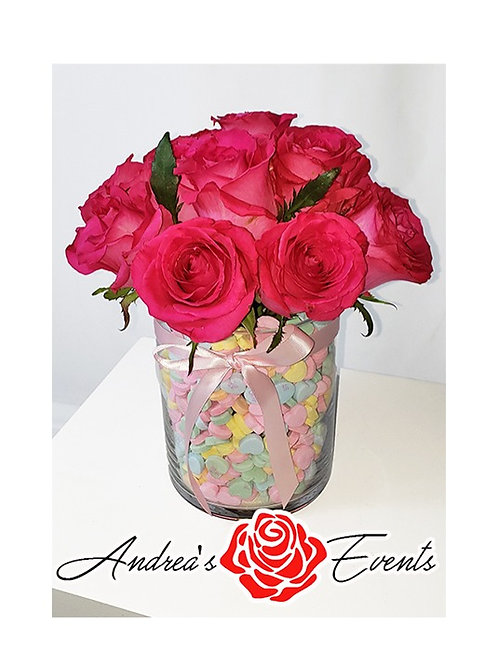 Fresh Pink Roses & Sweetheart Candies
