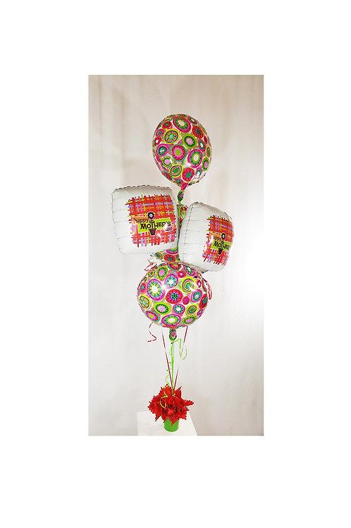 Metal Bucket Flower Mylar Balloons Arrangement