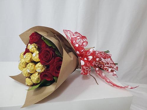 Fresh Roses & Chocolates Bouquet