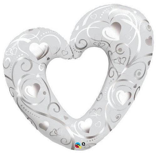 "42"" Pearl White & Silver Open Heart Filigree Balloon"