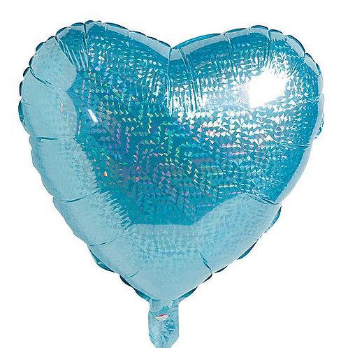 """18"""" Blue Glittergraphic Heart Balloon"""
