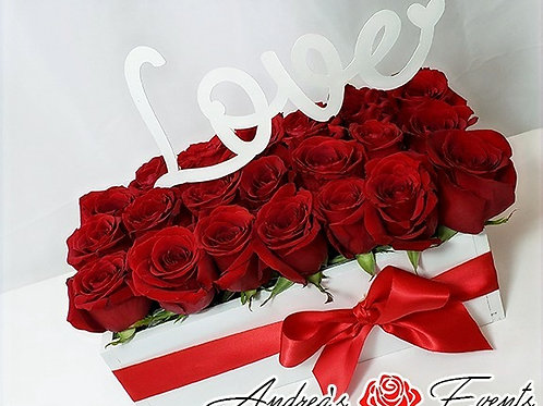 """Love"" Fresh Red Roses Wooden Box Arrangement"