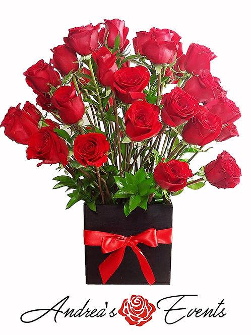 4 Dozen Red Roses Black Wooden Box (Plain Red Bow)