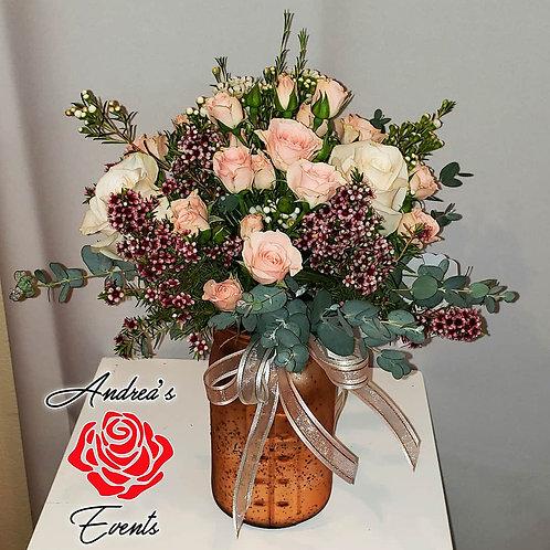 Motherly Love Rose Gold Large Mason Jar Arrangement