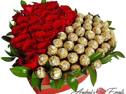Large Red Heart Box Ferrero Rocher Chocolates & Fresh Red Roses