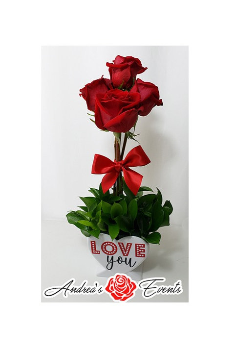 4 Fresh Roses Heart Shaped Vase
