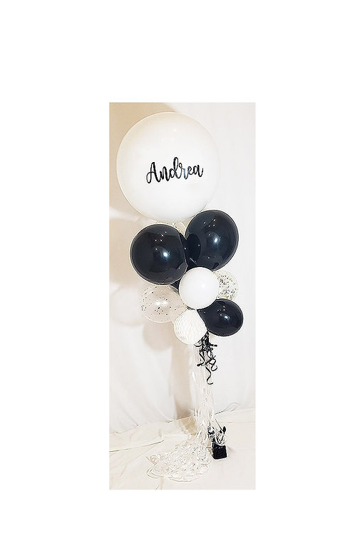 Personalized Classy White & Black Large Bouquet