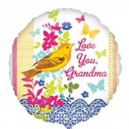 Love You, Grandma Bird/Garden Flowers Balloon