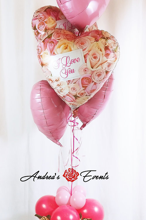 I Love You Roses & Hearts Pink Balloon Bouquet