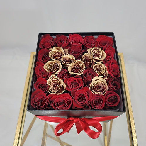 """""""M"""" Gold & Red Roses Large Square Box"""