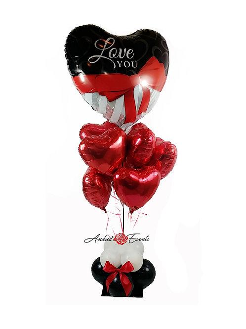 Love You Heart Bow Balloon Bouquet
