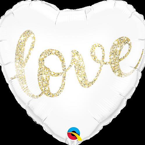 "18"" Love Glitter Gold Heart"