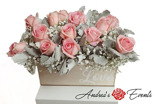 Large Light Brown Love Wooden Box Pink Roses