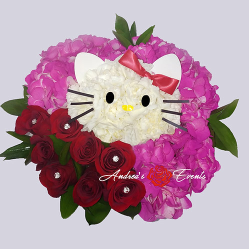 Hello Kitty Inspired Flower Arrangement