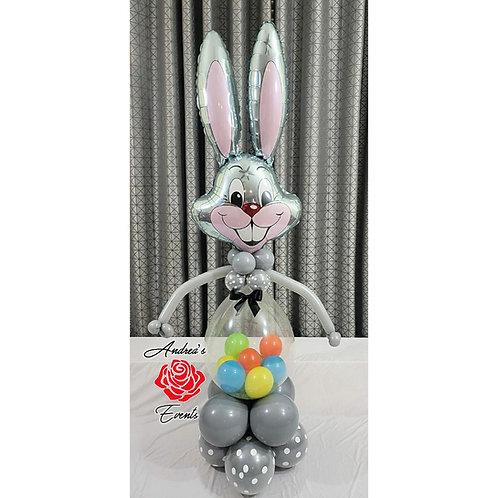 6ft Tall Grey Easter Bunny Balloon Arrangement