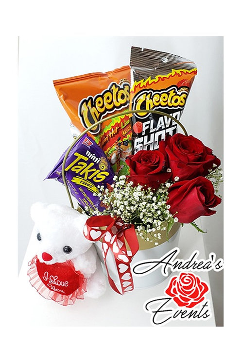 Teddy Bear Fresh Red Roses Snacks Elegant Bucket