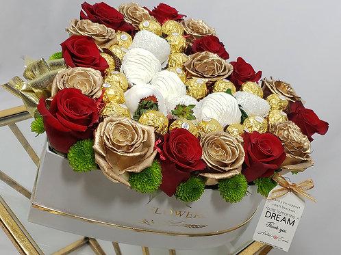 White Chocolate Covered Strawberries, Ferrero Rocher Chocolates, & Fresh Roses