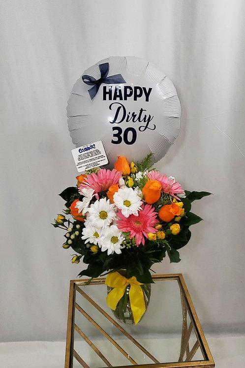 Combo Flower Arrangement/Custom Balloon