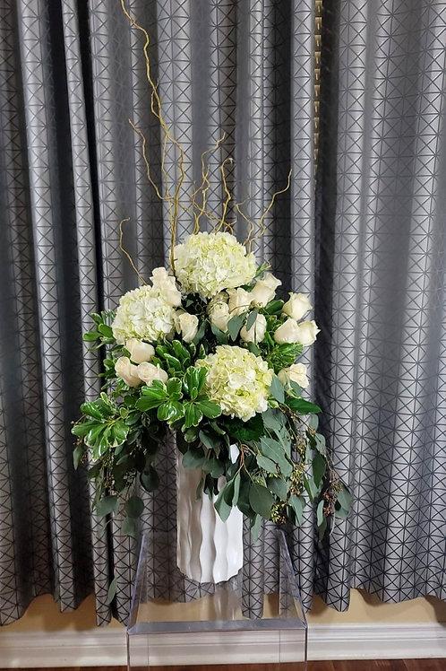 XLarge Elegant White Hydrangea/White Roses