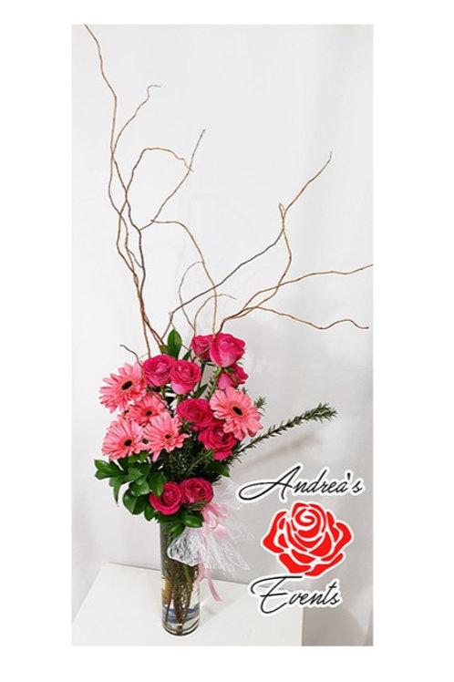 Fresh Pink Gerbera Daisies & Pink Roses