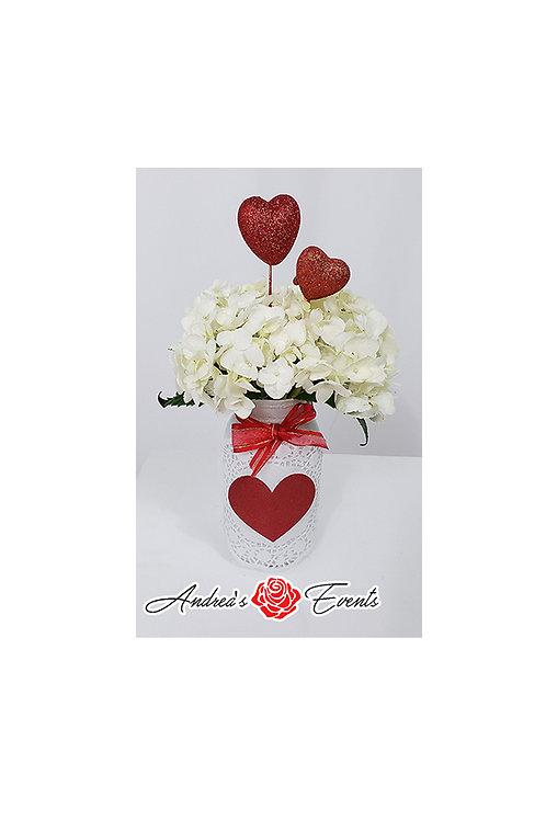 Fresh Hydrangeas Flowers Heart Mason Jar