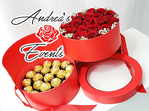 XOXO  Ferrero Rocher Chocolates & Fresh Roses Arrangement