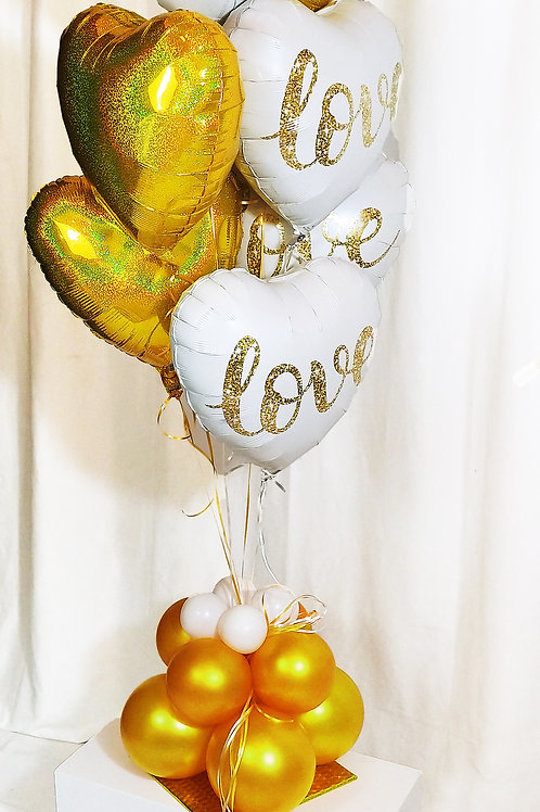 Gold & White Love Balloon Bouquet