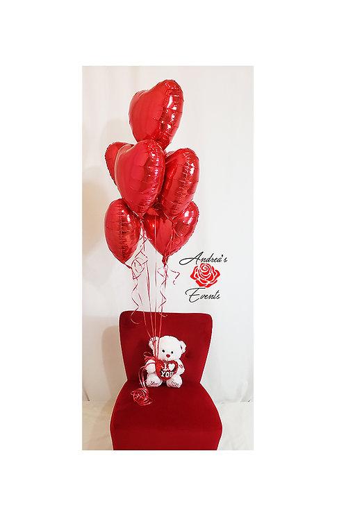 Teddy Bear with Heart Balloon Bouquet