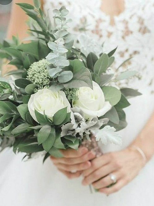 Bride Bouquet light pink roses with greenery