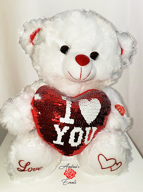 "Medium White Plush Teddy Bear with Red Sequin Heart says ""I Love Y"