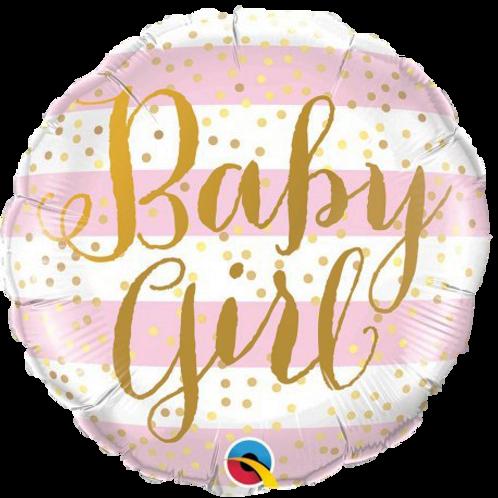 Baby Girl Pink Stripes Round Foil Balloon
