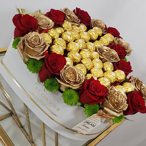 Fresh Gold & Red Roses with Ferrero Rocher Chocolates Heart Bx
