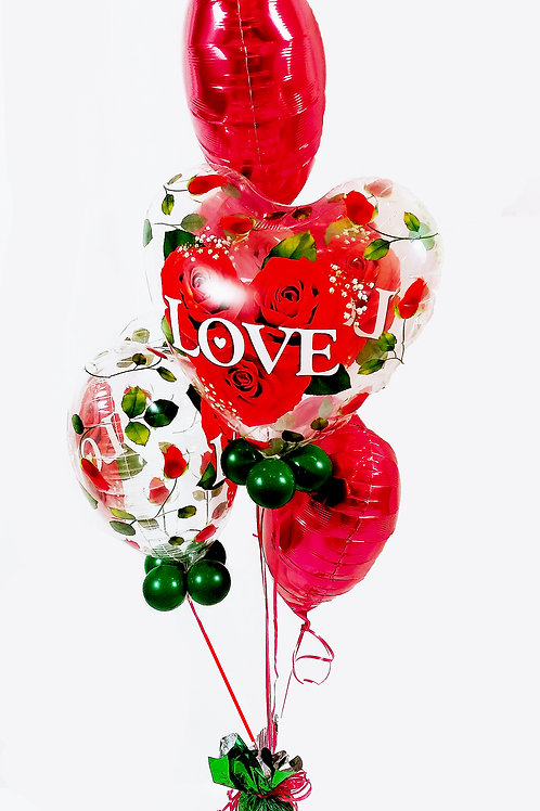 Love & Roses Hearts Balloon Bouquet