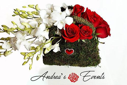 Purse Vase with Heart Rhinestones Brooche