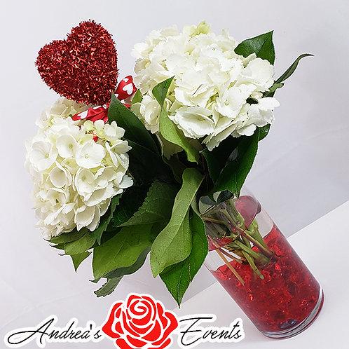 One Red Glitter Heart Fresh Hydrangeas