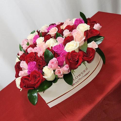 Mixed Color Roses X Large Heart Arrangement