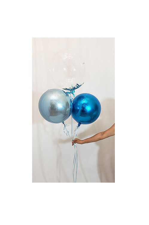 Clear Bubble Balloon with Two 4D Orbz Balloons