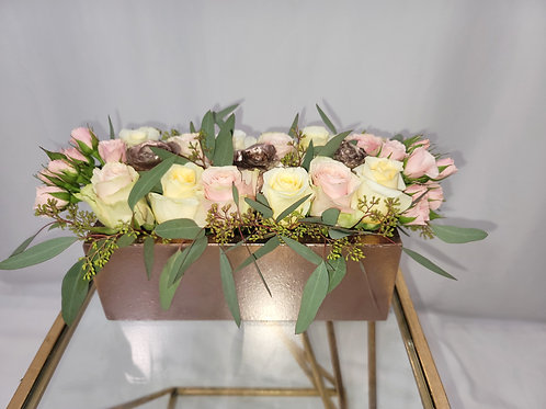 Rose Gold Wooden Box Roses