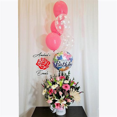 Pink Tones White Round Box Flower Arrangement/Balloons