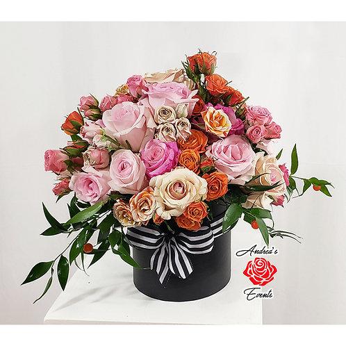 Luxury Mixed Spray Roses Black Round Box