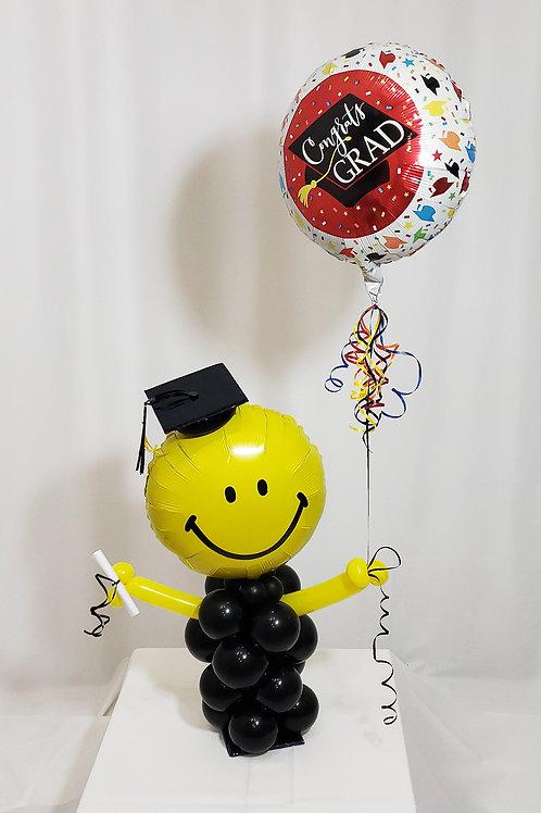 Graduated Smiley Face holding Congrats Grad Balloon Design #10