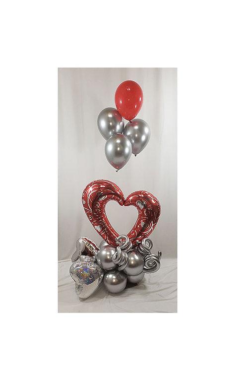 "42"" Hearts & Filigree Red Open Heart Balloon Arrangenment"