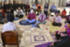 Guests meditating at the SC State House