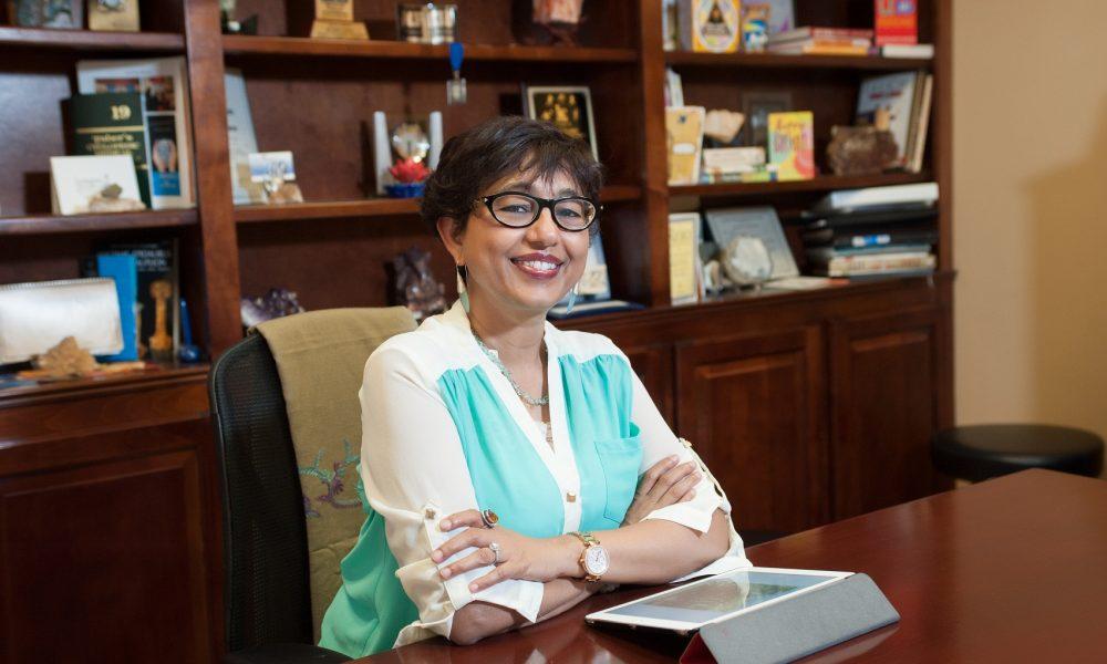 Hima at desk
