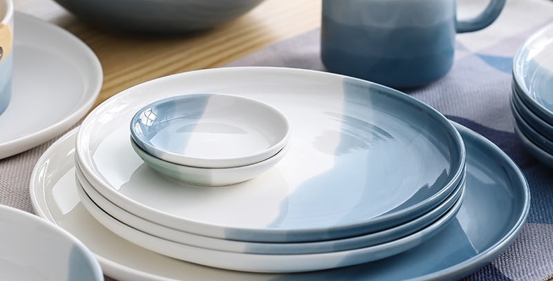 RHE Mountain Scenery Ceramic Dinner Plate Set